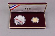 US OLYMPIC COIN SET 1988 SILVER DOLLAR AND $5 GOLD COIN