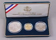 COLUMBUS QUINCENTENARY 1992 THREE COIN SET WITH JAMES FERRELL $5 GOLD COIN, THOMAS ROGERS $5 GOLD COIN AND JOHN MERCANTI SILVER DOLLAR