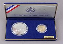 US CONSTITUTION SET, 1987 SILVER DOLLAR AND $5 GOLD COINS
