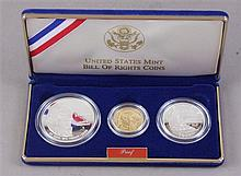 US MINT 1993 BILL OF RIGHTS COMMEMORATIVE COIN PROOF SET WITH $5 GOLD COIN, SILVER DOLLAR AND SILVER HALF DOLLAR