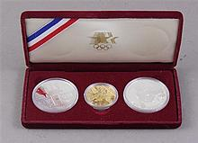 US OLYMPIC 1984 LOS ANGELES 3 COIN SET WITH $10 GOLD COIN AND TWO SILVER DOLLARS