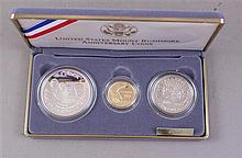 US MOUNT RUSHMORE ANNIVERSARY 1991 THREE COIN PROOF SET, INCLUDING $5 GOLD, SILVER DOLLAR AND HALF DOLLAR