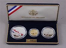 WORLD CUP USA 1994 THREE COIN SET, $5 GOLD, SILVER DOLLAR AND CLAD HALF DOLLAR