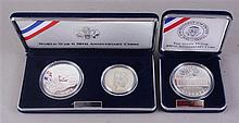 TWO ANNIVERSARY SILVER COIN SETS, WHITE HOUSE 200TH AND WORLD WAR II 50TH