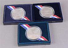 THREE US COMMEMORATIVE SILVER DOLLARS, WHITE HOUSE 200TH ANNIVERSARY, KOREAN WAR AND USO