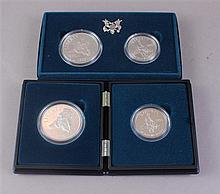 TWO CIVIL WAR BATTLEFIELD COIN SETS WITH SILVER DOLLARS AND SILVER CLAD HALF DOLLARS
