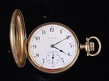 ELGIN STAMPED 14K YELLOW GOLD HUNTER CASE 15 JEWELS, MOVEMENT #13778425 POCKET WATCH, 48 MM DIAMETER, SOME SMALL DENTS IN CASE AND H...