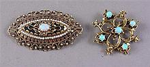 TWO STAMPED 14K YELLOW GOLD PINS WITH OPAL ACCENTS, 1 1/4