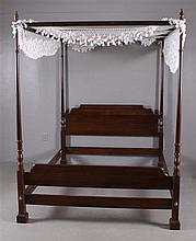 ETHAN ALLEN CHERRY QUEEN SIZE TESTER BED WITH FISH NET CANOPY, 84