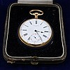 GUSTAVE SANDOZ HORLOGER DE LA MARINE PALAIS ROYAL 147-148 PARIS HALLMARKED YELLOW GOLD OPEN FACE POCKET WATCH