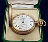 14K YELLOW GOLD AMERICAN WALTHAM P S BARTLETT HUNTER CASE #3446729 POCKET WATCH WITH GREEN VELVET BOX, 52 MM DIAMETER