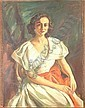 VINCENT NESBERT (? - 1976 PITTSBURG, PA)  OIL ON CANVAS, PORTRAIT OF WOMAN IN WHITE DRESS, SIGNED, 30