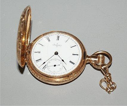 ELGIN 14K YELLOW GOLD GODDARD T MOSES RICHMOND, VA #2448291 HUNTER CASE POCKET WATCH, 40MM DIAM
