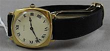 STAMPED 750, 18K YELLOW GOLD FIUMI WATCH WITH LEATHER BAND, 6 1/4