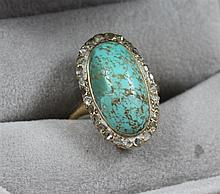 STAMPED 14K YELLOW GOLD TURQUOISE FASHION RING WITH ROSE CUT DIAMOND ACCENTS, SIZE  5 1/2, 5.2 GRAMS TOTAL, ONE DIAMOND MISSING