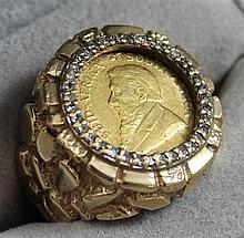 STAMPED 14K YELLOW GOLD 1 /10 OZ GOLD KRUGERRAND COIN RING WITH DIAMOND ACCENTS, SIZE 8 1/2, 14.1 GRAMS TOTAL