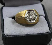 STAMPED 10 K YELLOW GOLD MENS KENTUCKY CLUSTER APPROX .50 CT TW DIAMOND RING, SIZE 10 1/2, 8.5 GRAMS TOTAL, REPLACEMENT VALUE $1,875.00