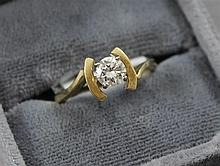 STAMPED 14K YELLOW GOLD APPROX .46 CT ROUND BRILLIANT DIAMOND RING, SIZE 6 1/4, 3.1 GRAMS TOTAL, REPLACEMENT VALUE $2,225.00