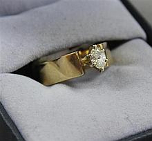 UNMARKED YELLOW GOLD RING WITH APPROX .25 CT  MARQUISE DIAMOND, SIZE 5 3/4, TESTS 14K, 5 GRAMS TOTAL, REPLACEMENT VALUE $1,950.00
