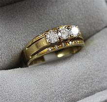 STAMPED 18K YELLOW GOLD RING WITH .70 CT TW  DIAMONDS, SIZE 8 1/2, 6.3 GRAMS TOTAL, REPLACEMENT VALUE $2,950.00