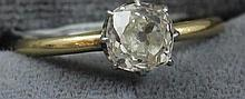 UNMARKED YELLOW GOLD RING WITH APPROX .91 CT OLD MINE CUT DIAMOND, SIZE 6 3/4,  2.8 GRAMS TOTAL, TESTS 18K, REPLACEMENT VALUE $3,875.00
