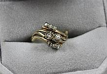 STAMPED 14K YELLOW GOLD 8 DIAMOND FASHION RING, SIZE 5 3/4, 3.6 GRAMS TOTAL