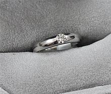 STAMPED 14K WHITE GOLD BAND WITH DIAMOND ACCENT, SIZE 4 1/2, 3.3 GRAMS TOTAL