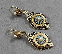 PAIR VINTAGE YELLOW GOLD DANGLE EARRINGS WITH TURQUOISE AND PEARL ACCENTS, 2