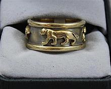 STAMPED 14K YELLOW GOLD PANTHER DESIGN RING, SIZE 10 1/4, 12.8 GRAMS
