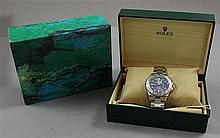 ROLEX YACHT MASTER MENS STAINLESS WATCH WITH DIAMOND ACCENTED BLUE DIAL AND UNIDIRECTIOANL BEZEL, HAS ORIGINAL BOXES, #16620/16233,...