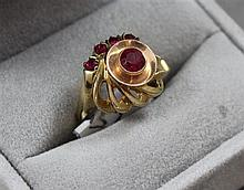 STAMPED 10K TWO TONE SYNTHETIC RUBY FASHION RING, SIZE 6, 4.1 GRAMS TOTAL