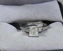 STAMPED PLATINUM APPROX 1.05 CT EMERALD CUT DIAMOND RING, SIZE 5 1/2, 4.5 GRAMS TOTAL, REPLACEMENT VALUE $12,850.00