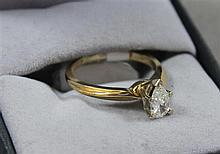 STAMPED 14K YELLOW GOLD APPROX .60 CT PEAR-SHAPED DIAMOND RING, SIZE 6 1/4,2.9 GRAMS TOTAL, REPLACEMENT VALUE $3,250.00