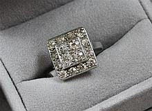 STAMPED PLATINUM SQUARE DESIGN DIAMOND CLUSTER RING WITH APPROX 1.12 CT TW EUROPEAN CUT DIAMONDS, SIZE 6 1/2,  5.3 GRAMS TOTAL, REPL...