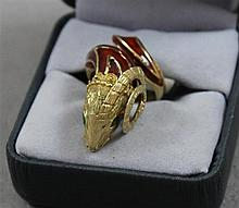 STAMPED 18K YELLOW GOLD RED ENAMELED RAM RING, SIZE 6, 10.4 GRAMS TOTAL