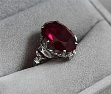 STAMPED 14K WHITE GOLD RING WITH SYNTHETIC RUBY, SIZE 6 3/4, 3.5 GRAMS TOTAL