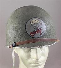 508TH AIRBORNE PARACHUTE INFANTRY HELMET, WITH CHIN STRAP AND LINER