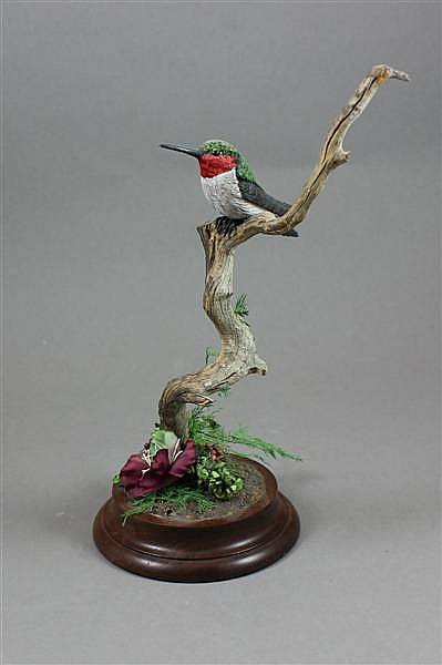 KATHY BOYLE WOODEN RUBY THROATED HUMMINGBIRD