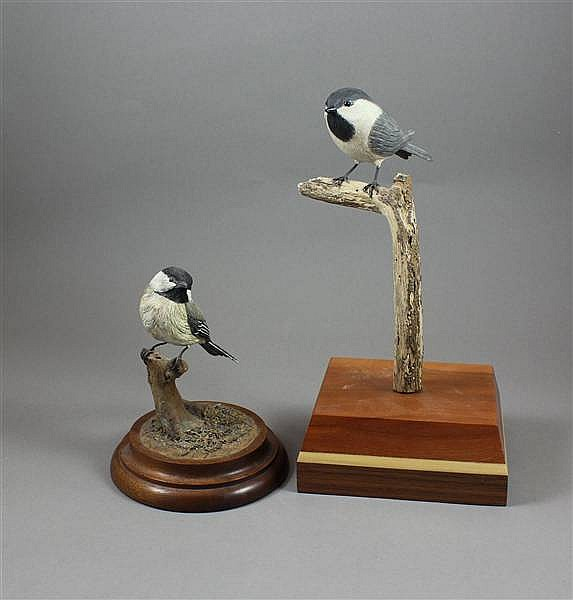 (2) WOODEN BLACK CAPPED CHICKADEES INCLUDING K. HOFMANN AND SCHIEFER