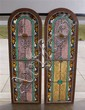 PAIR EARLY 20TH CENTURY LEADED AND STAINED GLASS ARCH TOP WINDOW PANELS
