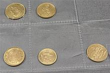 (5) 1877 SPANISH 25 PESETAS .900 GOLD COIN 8.06g, 1891 BRITISH SOVEREIGN .917 GOLD COIN 8g, 1891 FRENCH 20 FRANCS .900 GOLD COIN 6.4...