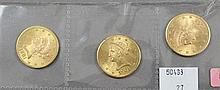 (3) 1901S U.S. $10 LIBERTY HEAD GOLD COINS