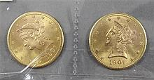 (2) 1901S U.S. $10 LIBERTY HEAD GOLD COINS