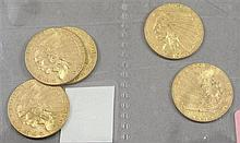 (5) 1928 U.S. $2.50 INDIAN HEAD GOLD COINS