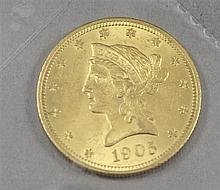 1905 U.S. $10 LIBERTY HEAD GOLD COIN