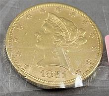 1881 U.S. $10 LIBERTY HEAD GOLD COIN