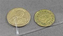 1815 NAPOLEON SOVERNO DELL' ELBA 14K GOLD PROOF 1.32 GRAMS AND CALIFORNIA GOLD REPRODUCTION COIN (NO GOLD VALUE)