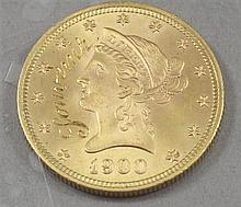 1900 U.S. $10 LIBERTY HEAD GOLD COIN, COUNTER INSCRIPTION