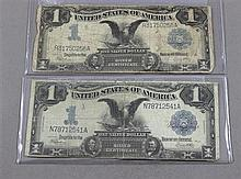 (2) SERIES 1899 U.S. $1 SILVER CERTIFICATES, LARGE NOTES
