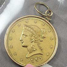 1901S U.S. $10 LIBERTY HEAD GOLD COIN IN BEZEL